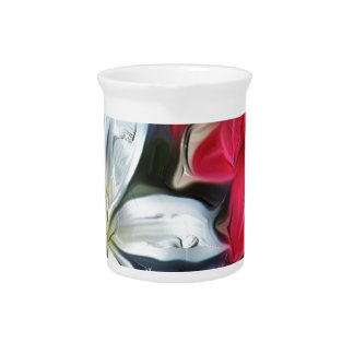 Abstract Floral Print Lilies and Orchids Drink Pitcher