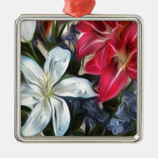 Abstract Floral Print Lilies and Orchids Metal Ornament