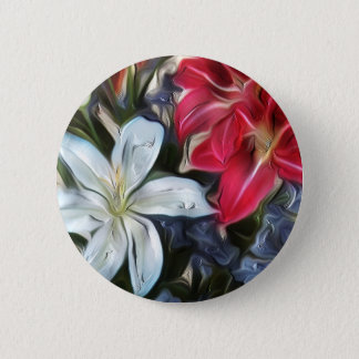 Abstract Floral Print Lilies and Orchids Pinback Button