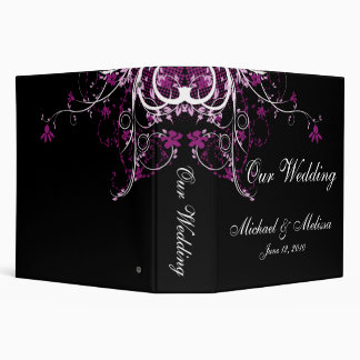Abstract Floral Purple, Black & White 3 Ring Binder
