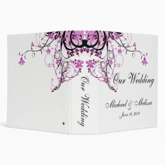Abstract Floral Purple, Black & White Wedding Binder