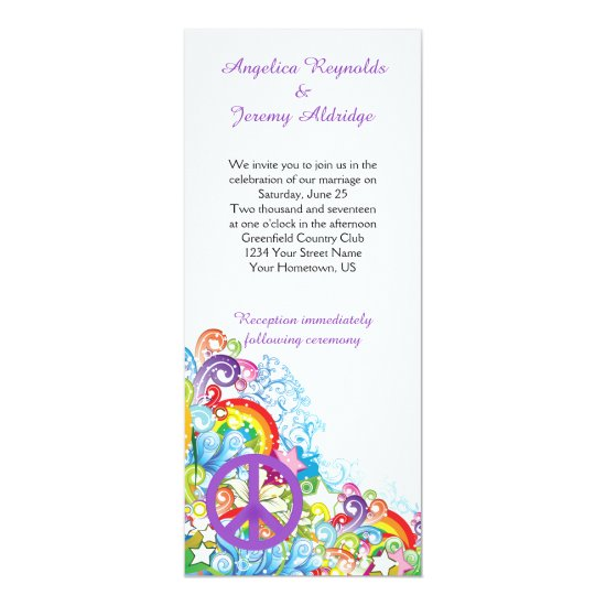 Abstract Floral Purple Peace Sign Post Wedding Invitation