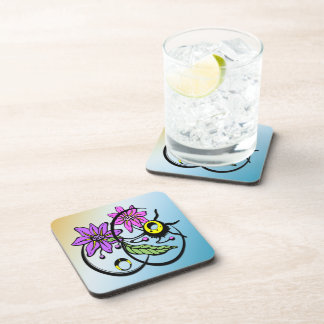 Abstract Floral - Purple & Pink Cork Coaster