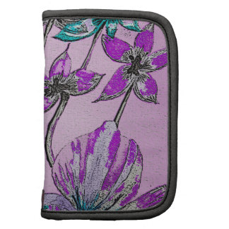 Abstract Floral Purple Folio Planners