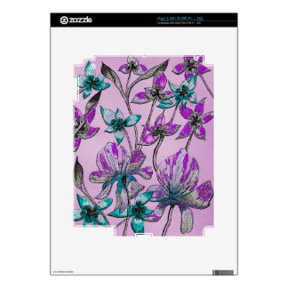 Abstract Floral Purple Skin For iPad 2