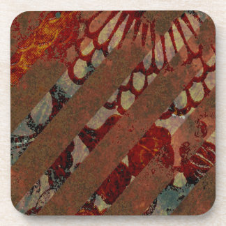 Abstract Floral Red and Brown with Grunge Stripes Beverage Coaster