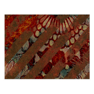 Abstract Floral Red and Brown with Grunge Stripes Postcard