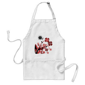 Abstract Floral red, pink, black Adult Apron