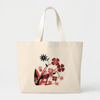 Abstract Floral red, pink, black Canvas Bags