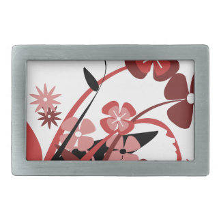 Abstract Floral red, pink, black Belt Buckle