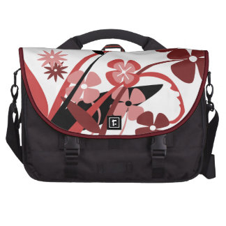 Abstract Floral red, pink, black Laptop Bags