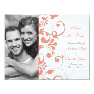 Abstract Floral Save the Date Card