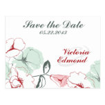 Abstract Floral Save the Date Postcard