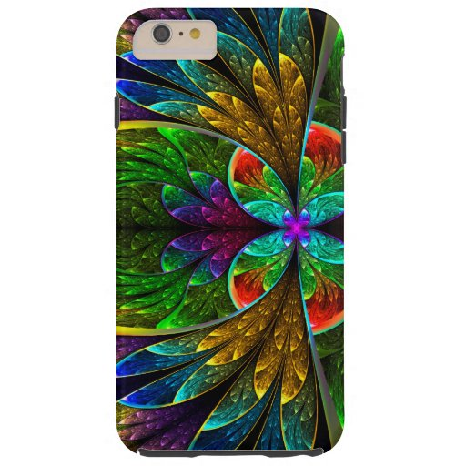 Abstract Floral Stained Glass 1 Tough iPhone 6 Plus Case