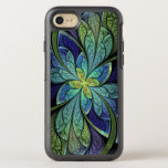 "Abstract Floral Stained Glass La Chanteuse IV OtterBox Symmetry iPhone 8/7 Case<br><div class=""desc"">Phone case with &quot;La Chanteuse IV, &quot; by Susan Wallace. Copyright &#169; 2010,  Susan Wallace. Abstract floral stained glass design in blue,  purple,  turquoise,  and green,  with bright chartreuse accents.</div>"