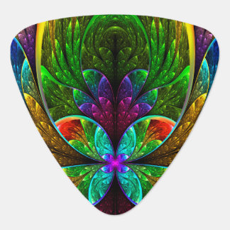 Abstract Floral Stained Glass Pattern Guitar Pick