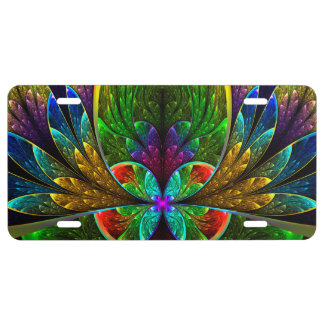 Abstract Floral Stained Glass Pattern License Plate