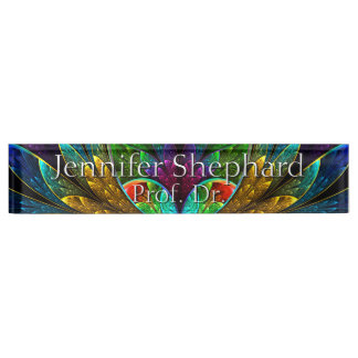 Abstract Floral Stained Glass Pattern Nameplate