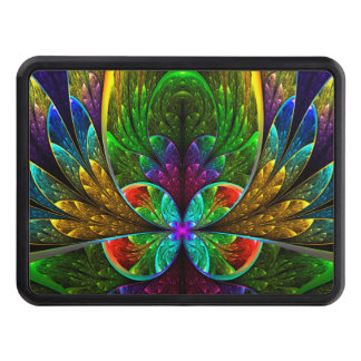 Abstract Floral Stained Glass Pattern Trailer Hitch Cover