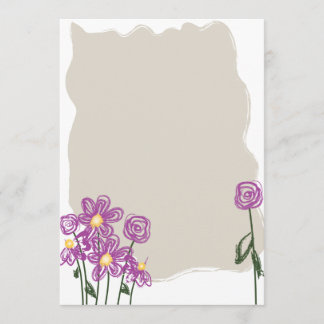 Abstract Floral Stationary Note Card