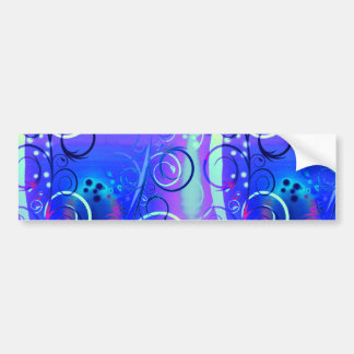 Abstract Floral Swirl Blue Purple Girly Gifts Car Bumper Sticker