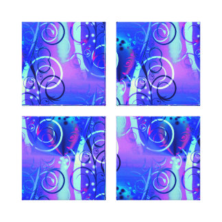 Abstract Floral Swirl Blue Purple Girly Gifts Stretched Canvas Prints