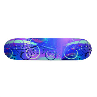 Abstract Floral Swirl Blue Purple Girly Gifts Skateboard Deck