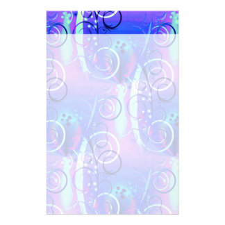 Abstract Floral Swirl Blue Purple Girly Gifts Stationery Design