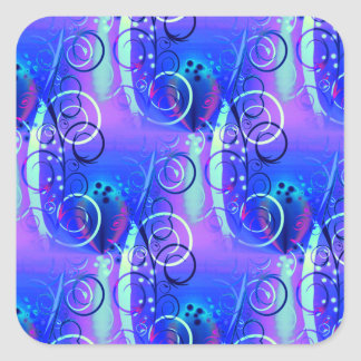 Abstract Floral Swirl Blue Purple Girly Gifts Square Stickers