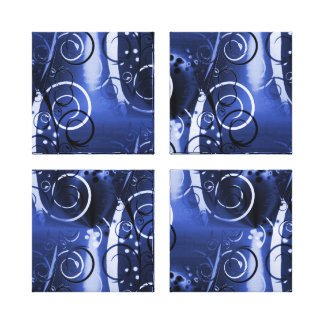 Abstract Floral Swirl Indigo Blue Girly Gifts Gallery Wrap Canvas