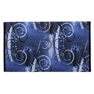 Abstract Floral Swirl Indigo Blue Girly Gifts iPad Folio Cover