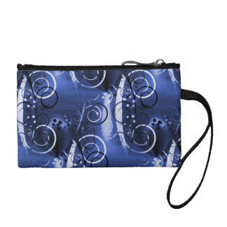 Abstract Floral Swirl Indigo Blue Girly Gifts Coin Purse
