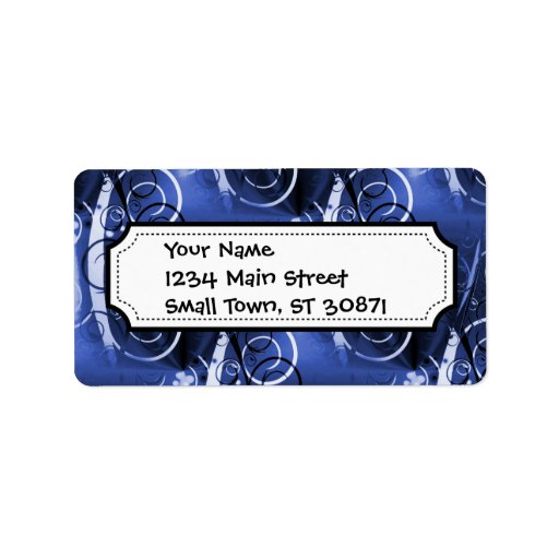 Abstract Floral Swirl Indigo Blue Girly Gifts Address Label