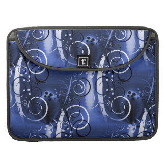 Abstract Floral Swirl Indigo Blue Girly Gifts MacBook Pro Sleeves