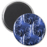 Abstract Floral Swirl Indigo Blue Girly Gifts Refrigerator Magnets