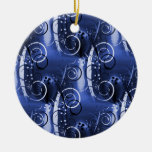 Abstract Floral Swirl Indigo Blue Girly Gifts Christmas Tree Ornament
