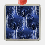 Abstract Floral Swirl Indigo Blue Girly Gifts Christmas Tree Ornaments