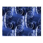 Abstract Floral Swirl Indigo Blue Girly Gifts Postcards