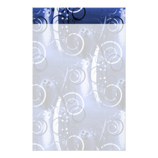 Abstract Floral Swirl Indigo Blue Girly Gifts Stationery Paper