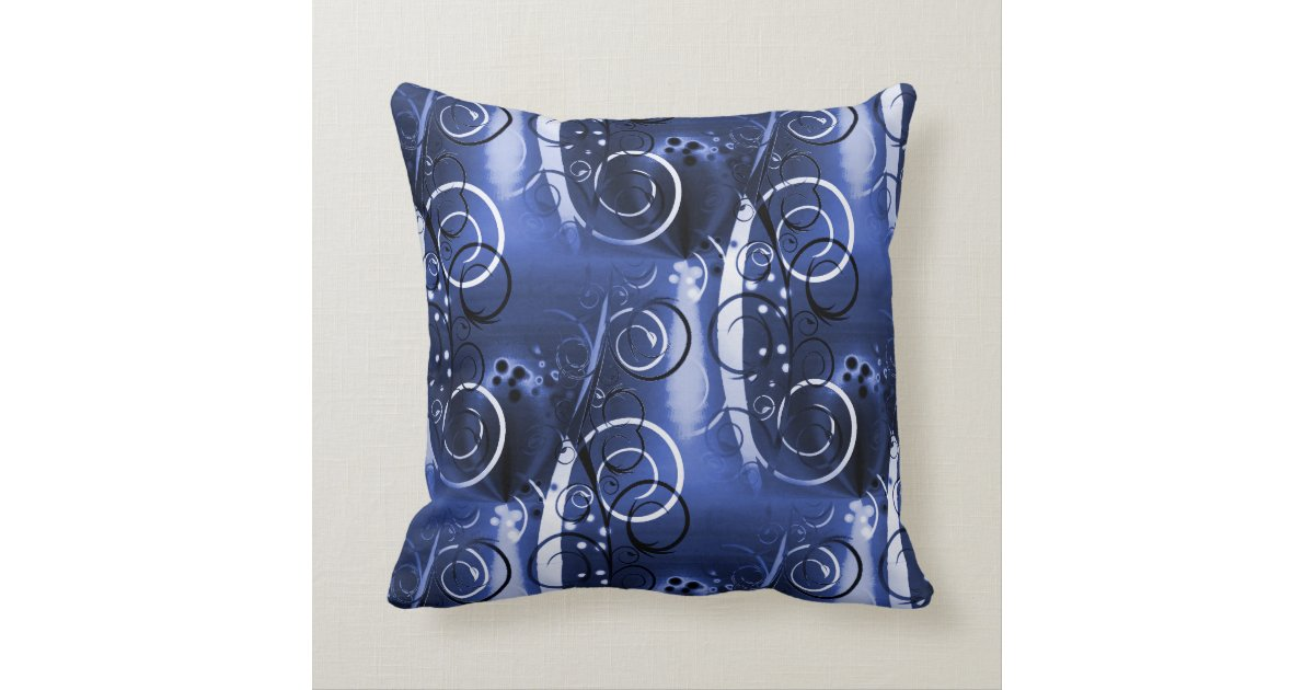 Abstract Floral Swirl Indigo Blue Girly Gifts Throw Pillow Zazzle