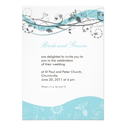 Abstract floral swirl invitation - turquoise brown