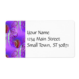 Abstract Floral Swirl Purple Mauve Aqua Girly Gift Label