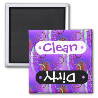 Abstract Floral Swirl Purple Mauve Aqua Girly Gift Magnet