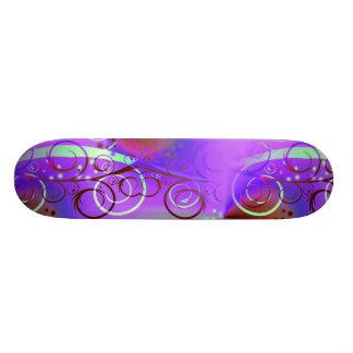 Abstract Floral Swirl Purple Mauve Aqua Girly Gift Skateboard