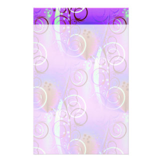 Abstract Floral Swirl Purple Mauve Aqua Girly Gift Customized Stationery