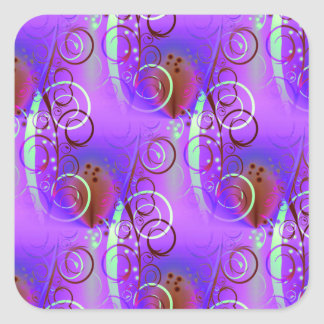 Abstract Floral Swirl Purple Mauve Aqua Girly Gift Sticker