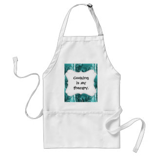 Abstract Floral Swirl Vines Aqua Blue Girly Gifts Adult Apron