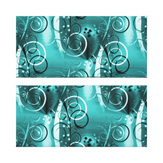 Abstract Floral Swirl Vines Aqua Blue Girly Gifts Gallery Wrapped Canvas
