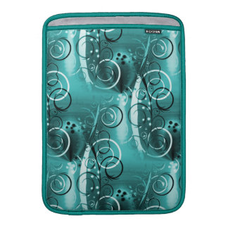 Abstract Floral Swirl Vines Aqua Blue Girly Gifts MacBook Sleeves