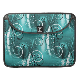 Abstract Floral Swirl Vines Aqua Blue Girly Gifts Sleeve For MacBooks
